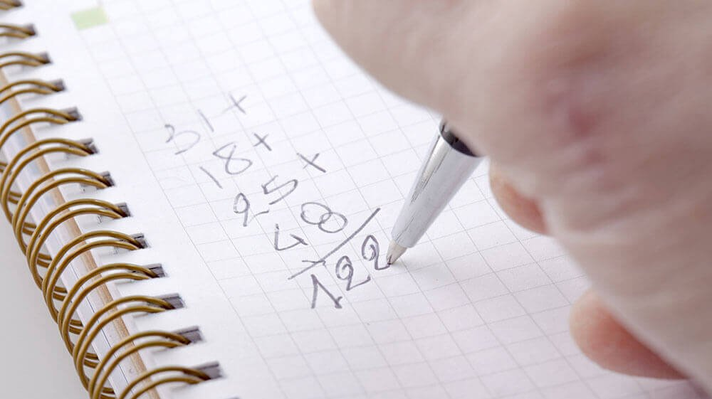 Home finances, counting on pen